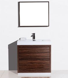 The kube bath Bliss is one of the most elegant modern Bathroom Vanities around. This 36 Inch model comes with a reinforced Acrylic composite sink, Marine Veneer Constructed Console that is fully moist