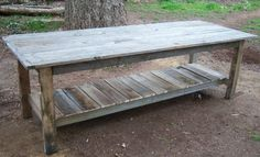 Pallet wood table legs and lower shelf, top is old decking, by Ana White, ana-white.com