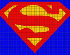 Superman Crochet Graphghan Pattern (Chart/Graph AND Row-by-Row Written ...