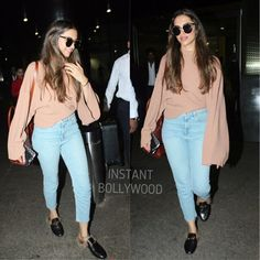 Airport Spotting ✈️ ✈️ - Deepika Padukone snapped looking gorgeous as she arrives back in Mumbai. Indian Celebrities, Bollywood Celebrities, Bollywood Fashion, Western Outfits, Indian Outfits, Fashion Idol, Fashion 2017, Dress Outfits, Fashion Dresses