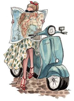 Italian Style: rent a Vespa and take your map to see where the day leads you! illustration by inslee Art And Illustration, Vespa Illustration, Fashion Sketches, Fashion Illustrations, Illustration Fashion, Drawing Fashion, Fashion Painting, Vintage Illustrations, Oeuvre D'art