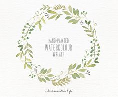 Watercolor wreath: 1 PNG floral clip art / Wedding invitation clip art / commercial use / Greenery branches and leaves / CM0063j