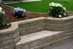 retaining wall bench by kelley Planting Bulbs In Spring, Wall Bench, Bench Seat, Garden Solutions, Long Walls, Front Yard Landscaping, Landscaping Ideas, Backyard Ideas, Acreage Landscaping