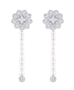 Louis Vuitton 'Monogram Infini' pendant earrings in white gold with two Louis Vuitton cut diamonds at 0.51ct and 0.50ct, 352 diamonds at 2.13ct, and 18 Akoya pearls.