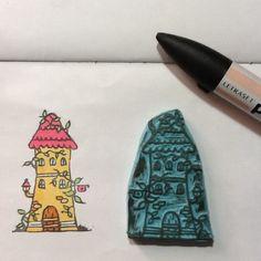 Sello casita gnomo 3. House rubber stamp