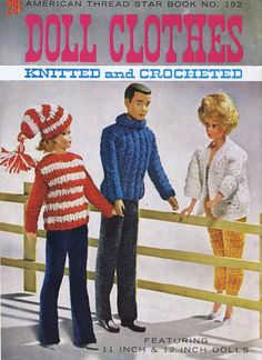 Crochet Toys Barbie Clothes Free Vintage Knitting and Crochet Patterns for the World's oldest fashion doll pinned with Pinvolve - Barbie Knitting Patterns, Barbie Clothes Patterns, Crochet Barbie Clothes, Crochet Patterns, Doll Patterns, Crochet Ideas, Knitted Dolls, Crochet Dolls, Knit Art
