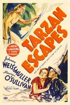 """Second sequel to the 1932 film """"Tarzan, the Ape Man"""". """"Tarzan escapes"""" was released in Classic Movie Posters, Classic Movies, Film Posters, Maureen O'sullivan, Old Movies, Vintage Movies, See Movie, Movie Tv, Escape Movie"""