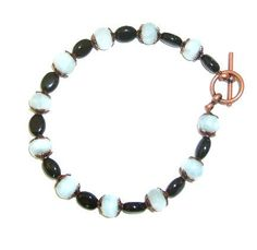 Genuine #Aquamarine and #Onyx #Bracelet #jewelry #thecraftstar $37.95