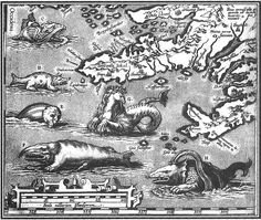 16th century map of monsters around the waters of Iceland.
