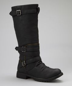 Take a look at this Black Buckle-Wrapped Gloria Boot by Bumper on #zulily today!