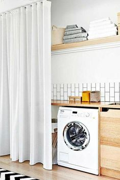 Check out these laundry organizing ideas that you need to steal from IKEA ASAP. Laundry Cupboard, Laundry Nook, Laundry Room Remodel, Laundry Closet, Small Laundry, Laundry In Bathroom, Hidden Laundry, Laundry Cabinets, Laundry Room Curtains