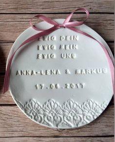 Wedding ideas     Ringkissen - Ringschale groß, personalisiert (Handarbeit) - ein Designerstück von Vintagelaedchen bei DaWanda