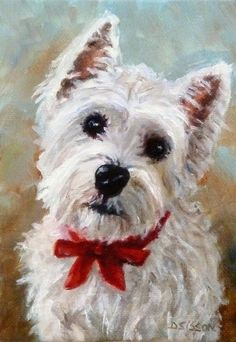Westie Puppy Oil Dog Painting Pet Portrait Art Animals West Highland Terrier -- Debra Sisson