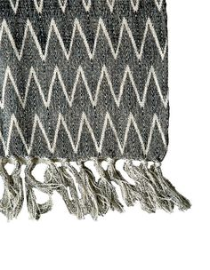 Cotton Throw w/ Chevron Print in Natural & Black design by BD Edition