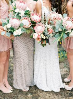 Blush protea bouquets: http://www.stylemepretty.com/2015/08/28/spotted-in-the-vault-this-week-blush-pink-protea/