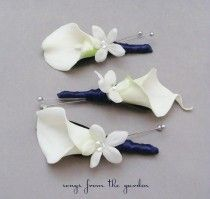 Real Touch Calla Lily Stephanotis Boutonnieres Groom Groomsmen Wedding Flower Package Navy Ribbon