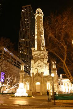 Old Water Tower w/Water Tower Place mall in the background, Chicago by fotoflow / Oscar Arriola, via Flickr