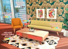 """plumbobteasociety: """" Sjane's Mid-Mod Birthday Set It was the lovely @sjane4prezcc's birthday a few weeks ago and we came together to make her a few gifts in her favorite mid-century modern style! A collaboration between @applezingsims, @coreopsims,..."""