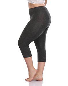 d09ee26b39491 VOGUEMAX Women's Capri Leggings Stretch and Comfy High Waisted  Three-Quarter Leggings Plus