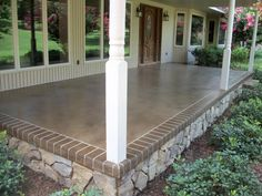 """Front or Back Porch Idea..."" A base of Desert Sand and an overspray of Mocha with a Mocha border engraved to look like brick. Foundation with a stone finish..."