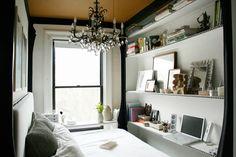 Tiny Bedroom - contemporary - Bedroom - New York - Jen Chu Design Next Bedroom, Home Bedroom, Bedroom Decor, Bedroom Ideas, Bedroom Inspiration, Bedroom Apartment, Bedroom Nook, Bedroom Shelves, Bedroom Storage