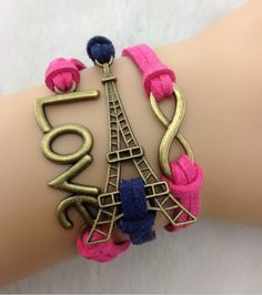 This Eiffel Tower love set of bracelets is so cute! I hear that Paris smells, and my tiny wrists would probably look silly in these unless they're child-sized, but the pink and purple cords are fantastic, and I would probably risk worsening carpal tunnel to wear this.