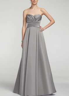 Strapless Satin Pleated Bodice Ball Gown - David's Bridal - mobile