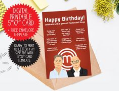 Funny printable Masterchef card for chef Birthday Cards, Happy Birthday, Greggs, Printables, Templates, Handmade Gifts, Funny, Etsy, Bday Cards