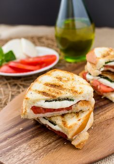 Margherita Panini with Garlic - a new twist on an Italian classic with melting mozzarella and fresh basil! Ready in under 10 minutes.