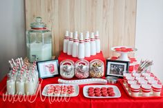 """Creative red and white bowling party: the wood """"bowling lane"""" backdrop!"""