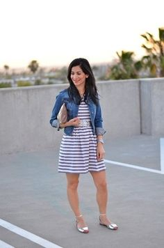 stripped dress + jean jacket
