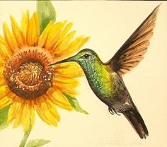 Original Hummingbird watercolor with bright yellow sunflower framed in sage frame and brown mat hummingbird sunflower painting by AbingdonArts on Etsy