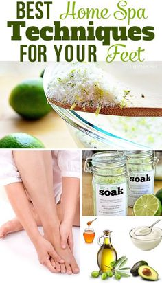 Best Home Spa Techniques For Your Feet - recipes for foot soak, sugar scrub, masque and how to massage your feet! TidyMom.net