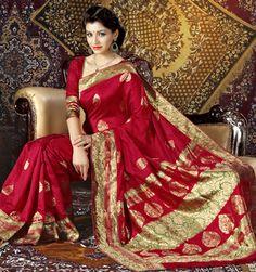 USD 85.09 Red Silk Party Wear Saree 28926