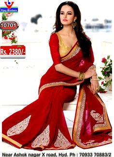 Georgette with red colour