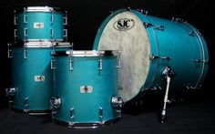 SJC Custom Drums. Sizes: 8x12, 14x14, 16x16, 18x22.  Finish: Teal satin stain Options: Tube lugs