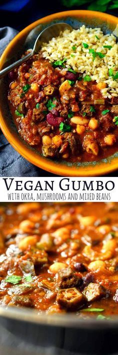 This vegan gumbo recipe is hearty, savory, filling and warming. With a mix of beans, mushrooms and okra, this vegetarian gumbo is cheap to make and full of flavour. Starting with a dark, rich roux, key herbs and spices, and a secret umami ingredient, it's hard to believe that this vegan gumbo doesn't have any meat in it! busy mom, healthy mom, health and fitness, healthy food, health tips