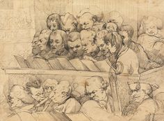 Choir and Orchestra (A Choral Band), 1776, by John Hamilton Mortimer, 1740-1779, British, Pen and black ink on moderately thick, moderately textured, cream laid paper, Yale Center for British Art, Paul Mellon Collection