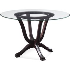 "Round Glass Pedestal Dining Table halo ebony dining table with 42"" glass top in dining tables"