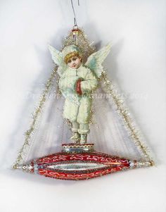 Beautiful Snow Angel on Red and Silver by DresdenStarOrnaments