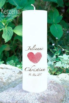 Romantische Fingerabdruck in Herzform auf cremeweißer Hochzeitskerze Unity Candle, Pillar Candles, Christening, Diy And Crafts, Christian, Lettering, Etsy, Kids, Handmade