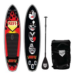 Officially Licensed Kiss Rock Legend SUP by Tribal Paddleboards Not only are they one of the most popular rock bands of all time, their licensed stand-u Family First, Family Guy, Family Leisure, Foot Pads, Rock Legends, Tandem, Paddle Boarding, Water Sports, Golf Bags