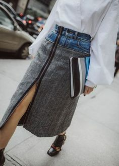 One and Only: Denim-Tweed Fashion Mode, Denim Fashion, Skirt Fashion, Fashion Outfits, Womens Fashion, Fashion Trends, Altered Couture, Ropa Upcycling, Skirt Outfits