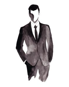 JAMES: Hand Painted Fashion Illustration, Bedroom or Office Decor, Black & White, Wall Art, Men's Office, Man Cave. Frame Not Included.