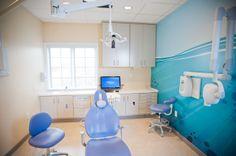 pediatric dental treatment room with wall mural.