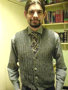 'Here is a well-shaped waistcoat, which is quickly knitted. Choose airforce blue or khaki wool.'