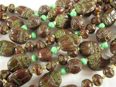Super Vintage Egyptian Revival Molded Chocolate Brown Scarab Glass Bead Necklace