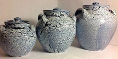 Cole Pottery 3 Jars Blue Made In Sanford North Carolina