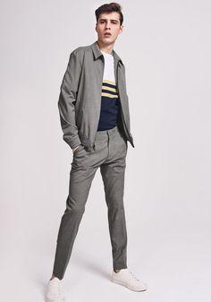 Today's Look: Harrington Jacket. Photo: Next. #ootd #menswear #mensfashion #mensstyle #harringtonjacket #stripes
