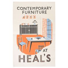 Heal's Contemporary Furniture Poster Tea Towel   Tea Towels   Kitchen Utility   Cooking & Dining   Heal's